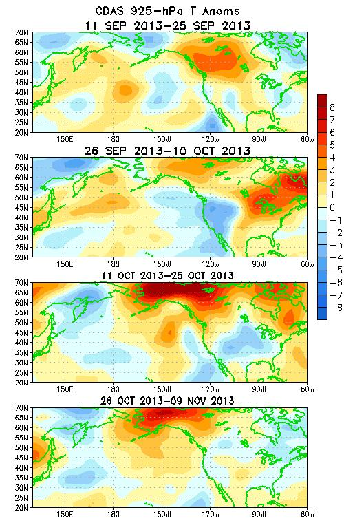 Atmospheric Circulation over the North Pacific & North America During the Last 60 Days During mid-september, anomalous