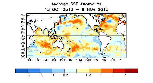 Global SST Departures ( o C) During the last four weeks, equatorial SSTs were below average