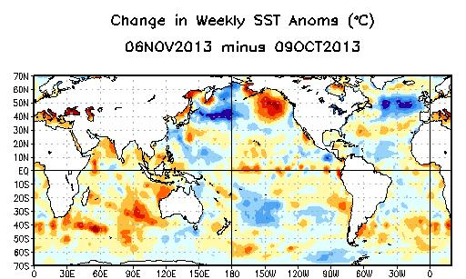 Weekly SST Departures ( o C) for the Last Four Weeks During the last month, negative SST