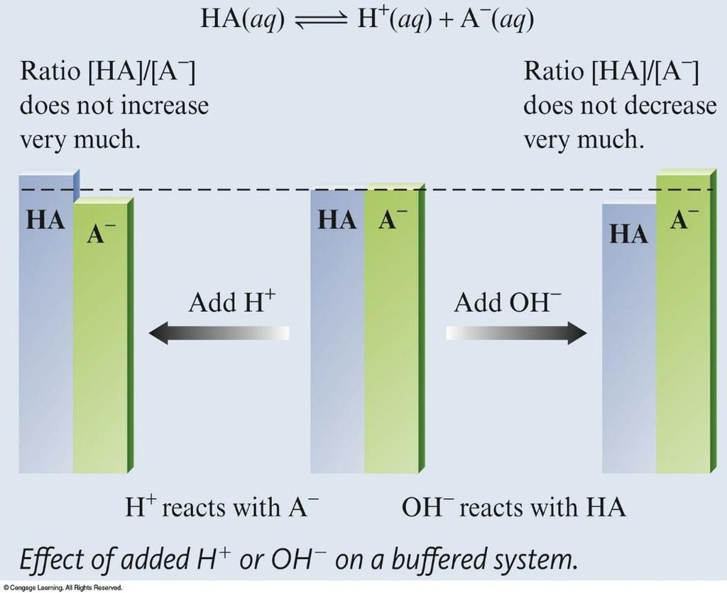 Buffer Capacity As long as the ratio of the concentrations of the weak acid and weak base remains virtually constant, the ph will remain virtually constant.