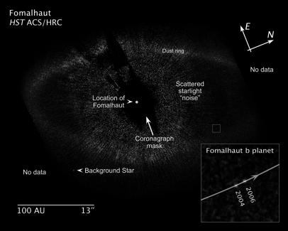 Best guess masses 5-14 M jupiter.! Reported in Science, 2008, 322, 1348 by Marois et al.! And, in the same issue! A planet just inside the dust ring around the star Fomalhaut.