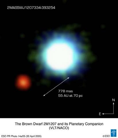 Exoplanet Imaged?! Star 2M1207A Brown Dwarf Distance = 59pc 13 mag at J (1.