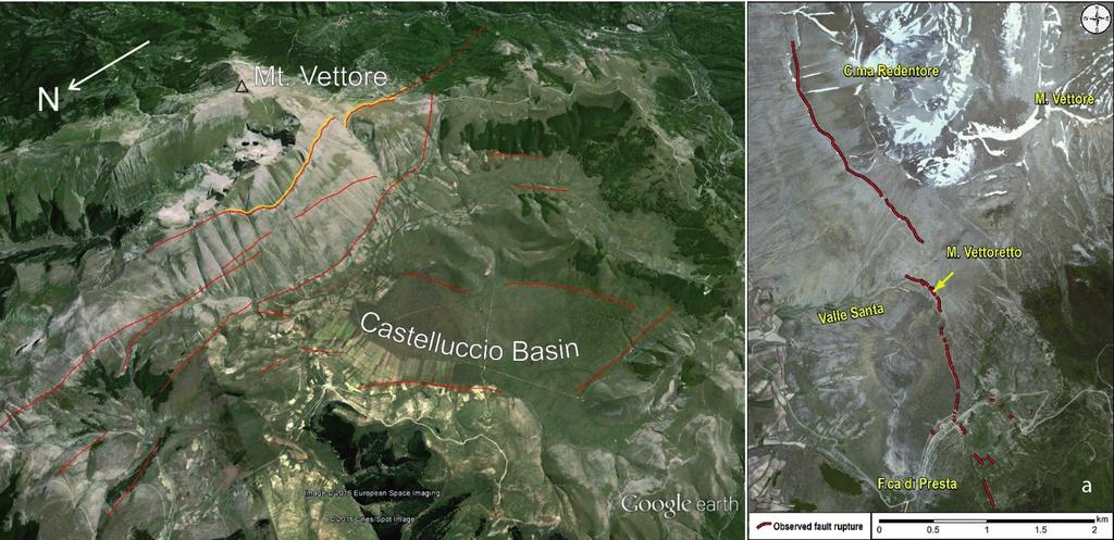 GNGTS 2016 Fig. 1 Left: Oblique view of the Castelluccio Basin bounded, to the east, by the Mt. Vettore fault escarpment. Capable faults (after ITHACA database - https://goo.