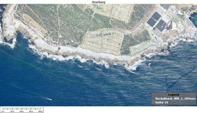 FIGURE 8: ROCKY SHORE WAVE RUN UP MODELLING FOR A 1 IN 10 YEAR STORM (BLUE DOTTED LINE) AT HERMANUS 4.2.