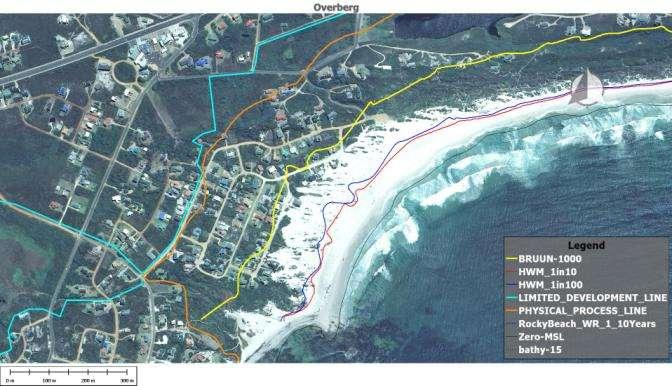 erosion allowance (20m) added to the 1m of sea level rise regression. The long term erosion trend at Betty s Bay is just under 2m per year based on the aerial photography between 1973 and 2005.