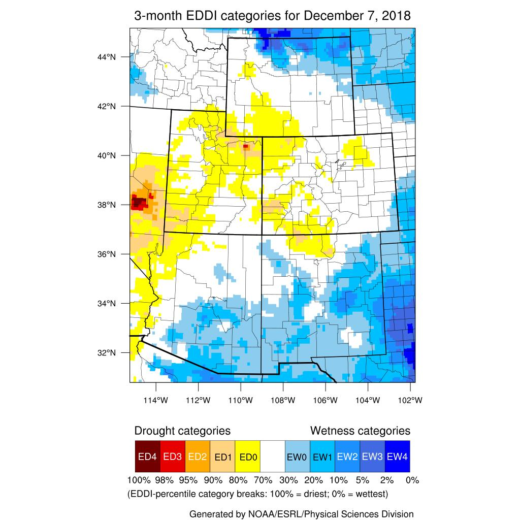 The above images are available courtesy of NOAA s Evaporative Demand Drought Index (EDDI).