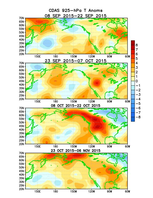 Atmospheric anomalies over the North Pacific and North America During the Last 60 Days During September, below-average heights/ temperatures prevailed over Alaska and portions of western Canada,