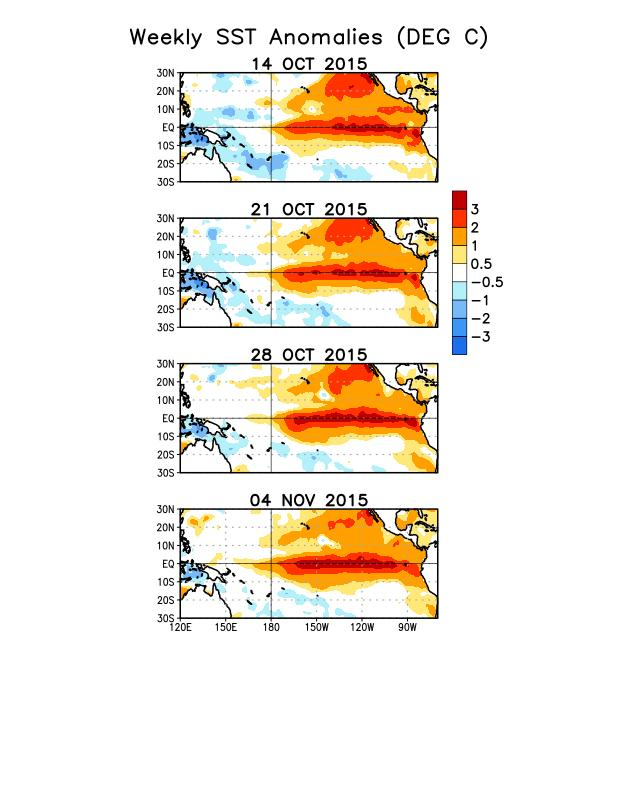 Weekly SST Departures during the Last Four Weeks During the last four