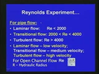 (Refer Slide Time: 26:25) Now, with respect to this Reynolds number we can say for example if we consider pipe flow.