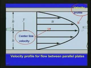 Since it is parallel flow we assume the flow is only one velocity component and then we also assume the flow is steady state and fluid is incompressible.