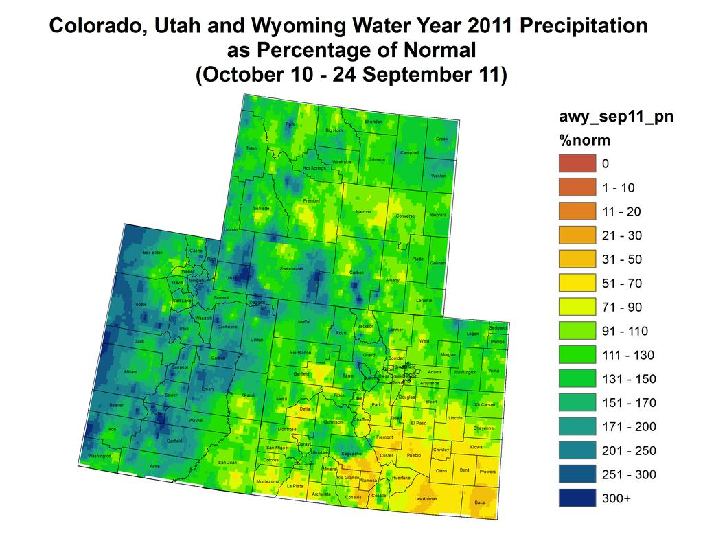 PrecipitaFon and Snowpack Fig. 1: Water year to date precipitafon as a percent of average. Fig. 2: September month to date precipitafon in inches.