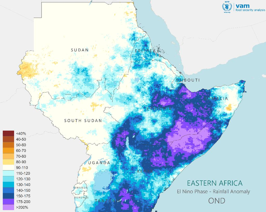 EL NIÑO IMPACTS: EAST AFRICA SHORT RAINS Historical Impacts: Oct-Dec rainfall Historical data shows El