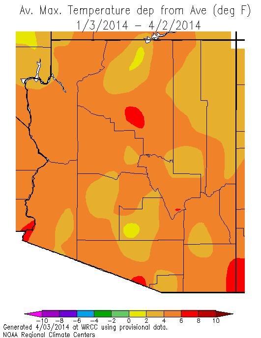 Daytime highs were 4 to 6 o F warmer than normal with the Colorado Plateau slightly cooler than the rest of the state.