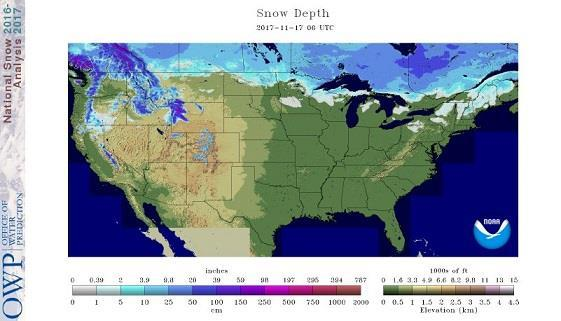 Snowpack in Canada and the US: This helps to show how much modification air masses will have when coming down from the cold far northern reaches of Canada and Alaska.