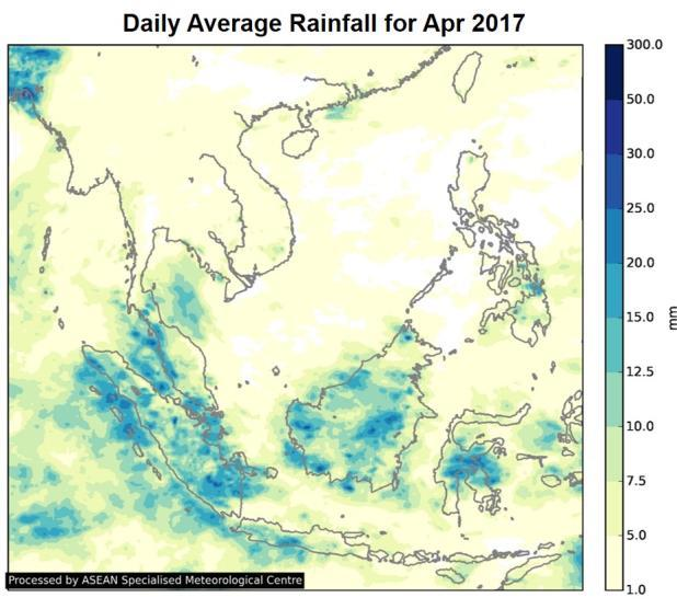 During the month, there was a gradual increase in rainfall over parts of the Mekong sub-region, mostly over Thailand, Cambodia and central Vietnam.