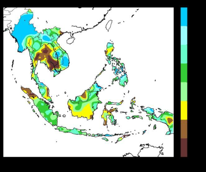 Figure 1: Daily average rainfall for the ASEAN region in April 2017. (Source: JAXA Global Satellite Mapping of Precipitation) Figure 2: Percentage of Normal Rainfall for April 2017.