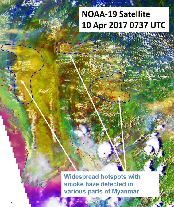 Figure 5: NOAA-19 satellite image on 10 April 2017 shows widespread