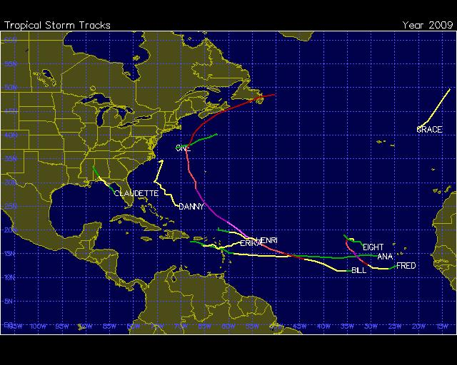 Atlantic TC Tracks During 2009 Out of 8 named storms, 5 formed in the