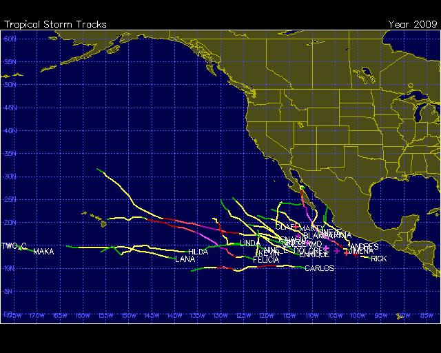Eastern Pacific Basin TC Tracks during 2009 TCs form somewhat west of the
