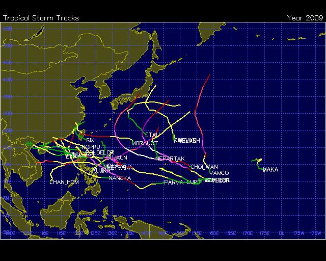 Western Pacific Basin TC Tracks during 2009 24 named