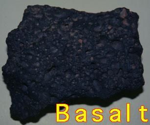 Basalt Dark-colored, finegrained, extrusive Formed where lava erupted onto surface Most widespread igneous rocks Found locally in the
