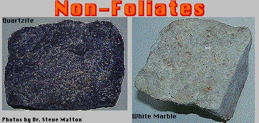 Non-foliated metamorphic rocks include marble, which comes from limestone, and quatzite, which