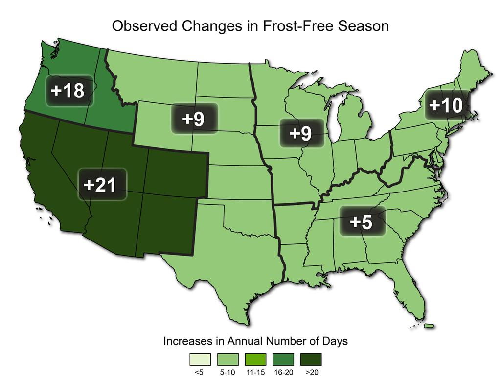 U.S. Growing season is lengthening