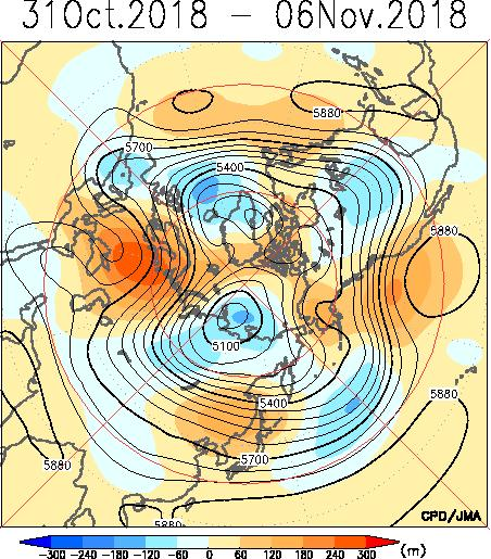 Contours indicate sea level pressure. Shading indicates anomaly. Positive anomalies were seen in a wide area of Eurasia.
