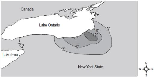 28. The map below shows the amount of snowfall, in inches, produced by a lake-effect snowstorm in central New York State.