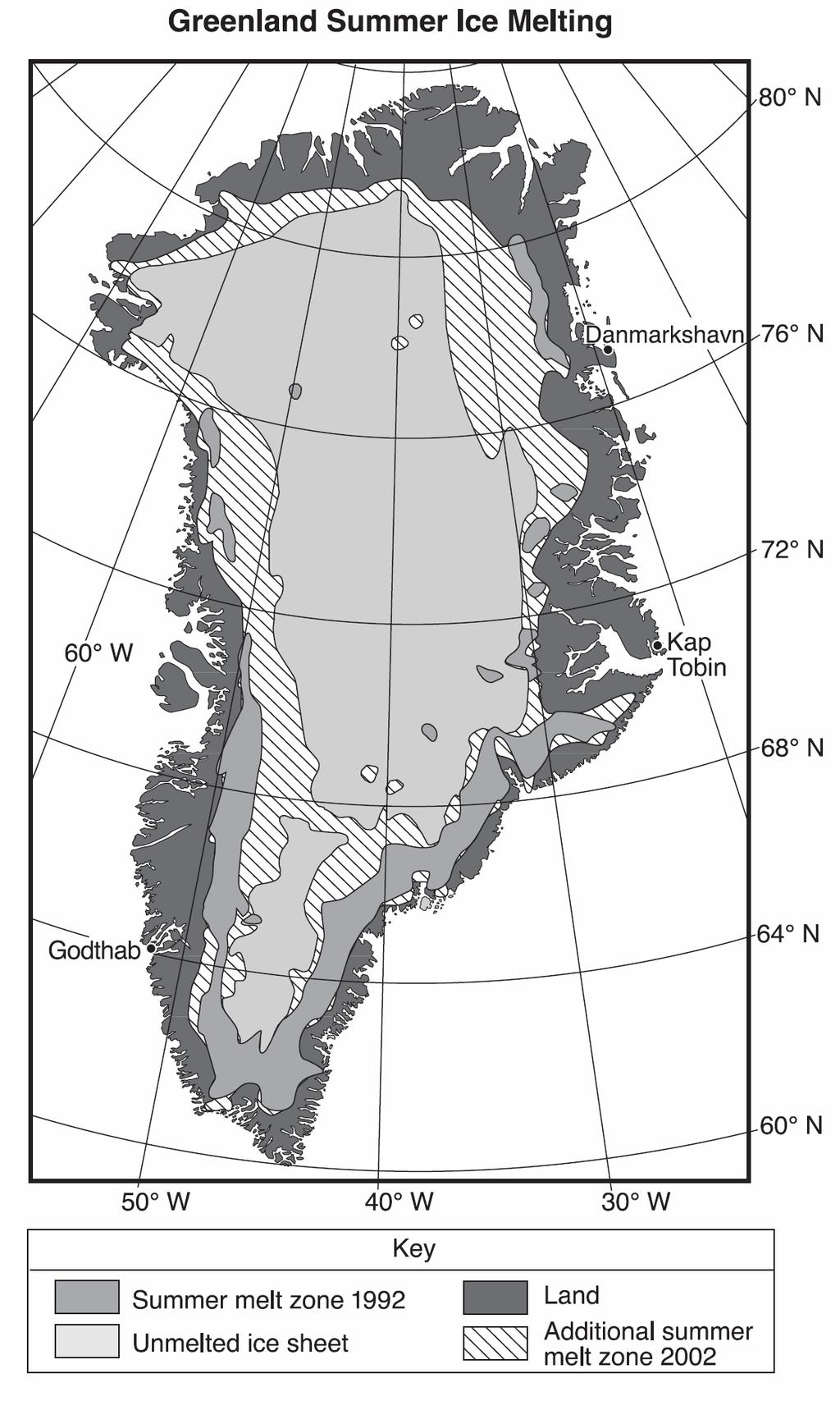 29. Base your answer to the following question on the following map and passage. The map shows the extent of summer ice-melt zones on Greenland in 1992 and 2002.