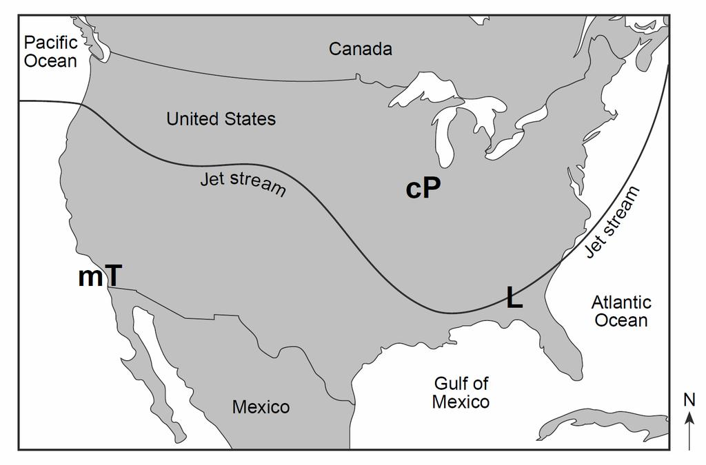 17. Base your answer to the following question on the map below, which shows the position of the jet stream relative to two air masses and a low-pressure center (L) over the United States.