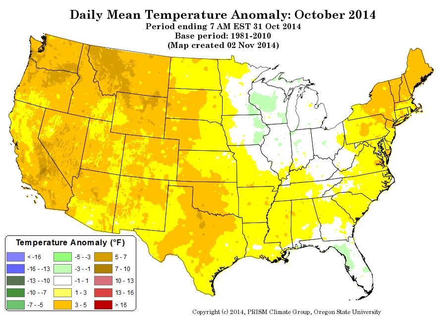 U.S. TEMPERATURES (ANOMALY) LOOKING BACK AT OCTOBER 2014 October 2014 was a warm month for the lower 48 United States