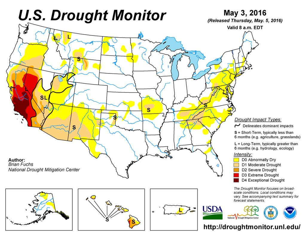 Drought Update Colorado is now entirely drought-free again, after a wet and snowy April erased the small pocked of moderate drought across extreme southeast portions of the state.