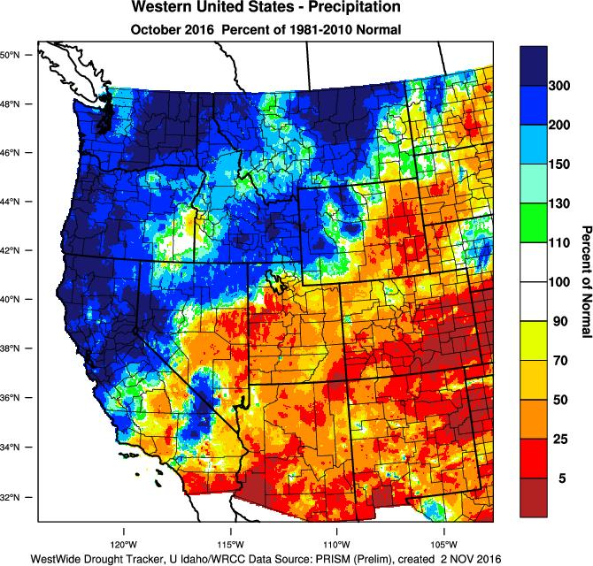 like October), October in the west felt much more like a November in terms of storms and precipitation!
