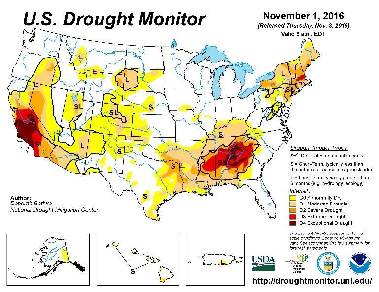 Drought Watch The wet October has altered the short to long term drought conditions in the western US.