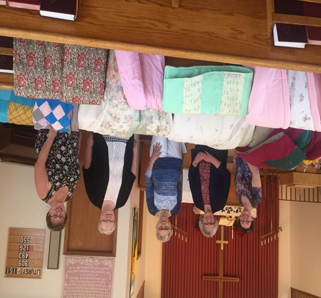 May 13 was our Quilt Dedication Day, when we displayed the 9 blankets we made this winter, in which 8 will be donated to 2 Regina Lutheran churches for their fall clothing giveaways, and one will be