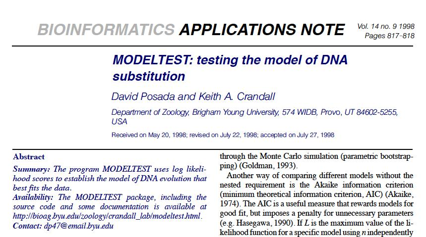 Models of Molecular Evolution: Model Test One of the most useful programs to determine the model of molecular evolution is Model Test (current version: jmodeltest2).