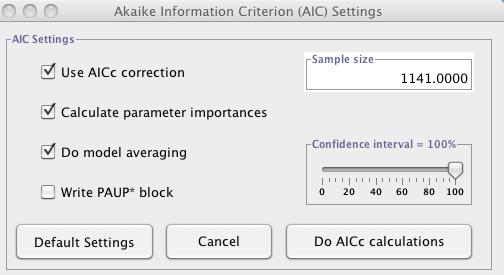 possible model I usually select to AICc correction