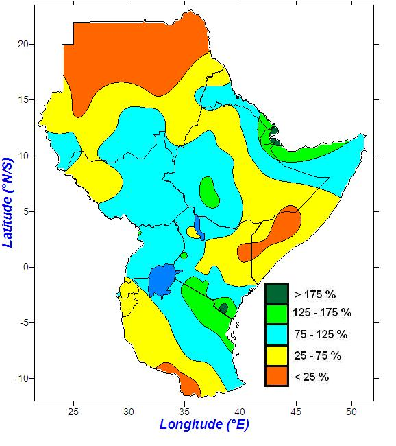 4.3 Rainfall anomalies 4.3.1 Rainfall anomalies during May to July 2015 period During May to July 2015 period parts of Djibouti; northern tip of Somalia; southern Eritrea; south western Ethiopia