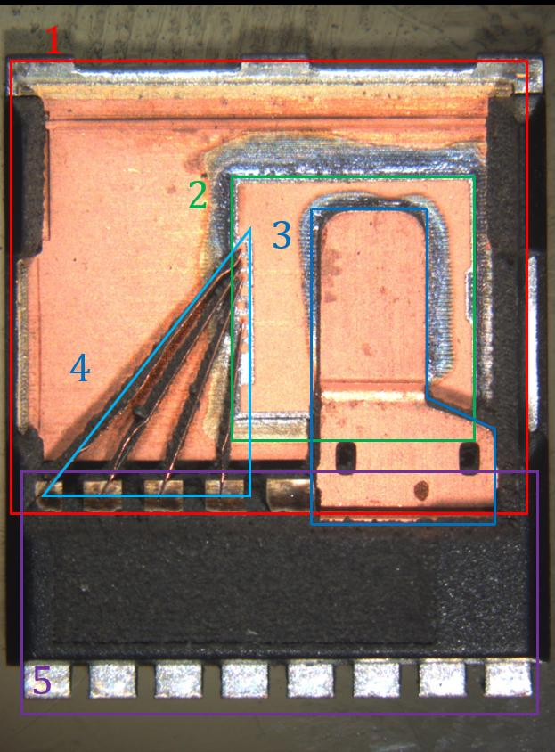 Figure 4: A TOLL package. Removal of mold compound was done with laser ablation.
