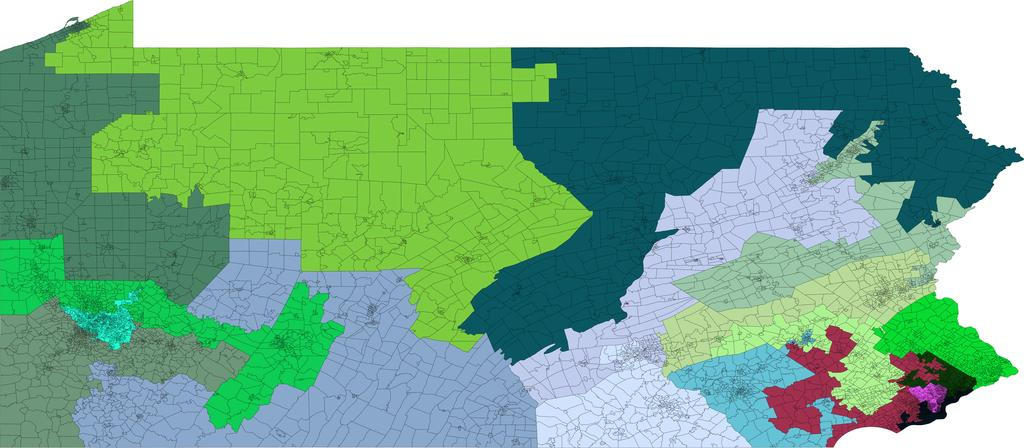 5 FIG. 2: Left: The current districting of Pennsylvania. Right: A districting produced by the Markov Chain after 240 steps. (Detailed parameters for this run are given in the supplement.