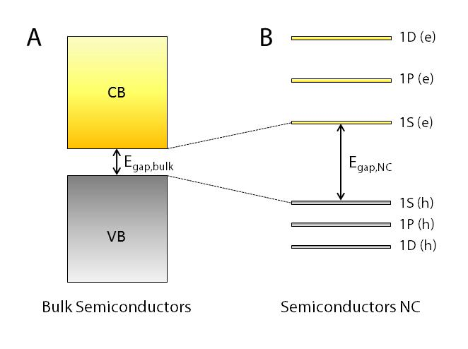 16 discrete structure of their energy levels. A simplified schematic illustration of electronic states for bulk and NC semiconductors is shown in Figure 1.9.