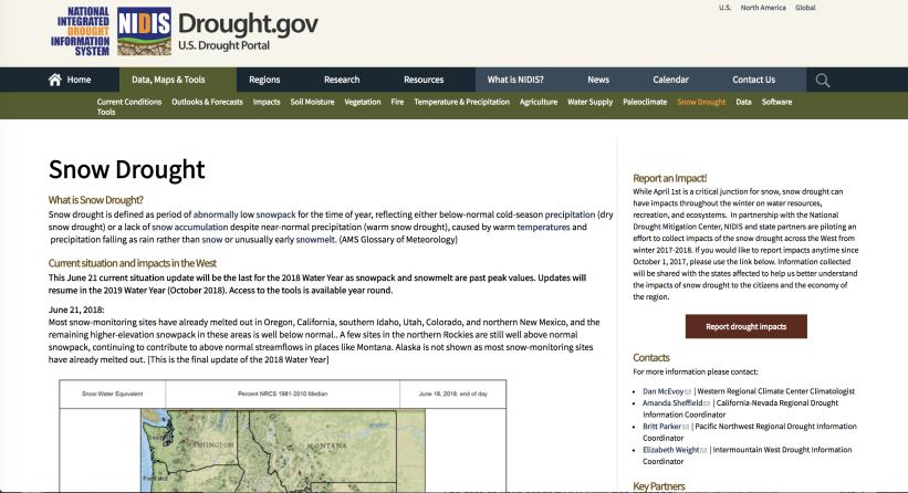 Snow Drought Resources Snow drought is a period of abnormally low snowpack for the