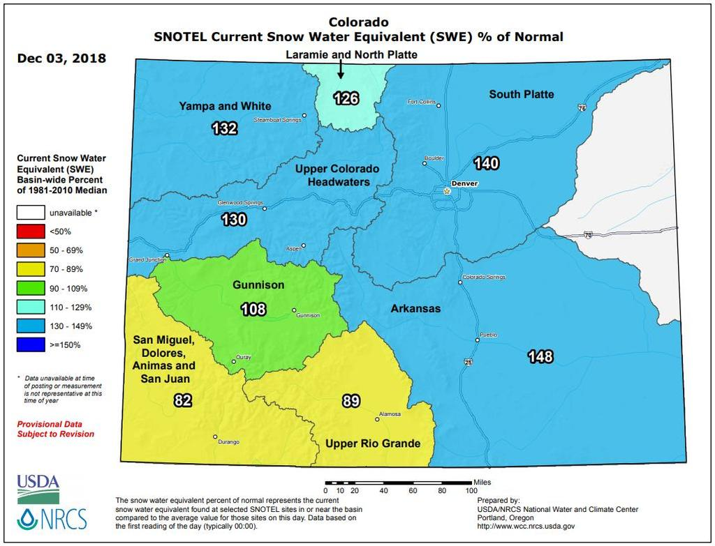 The Weather Wire December 2018 Volume 25 Number 12 Contents: Current Colorado Snowpack Drought