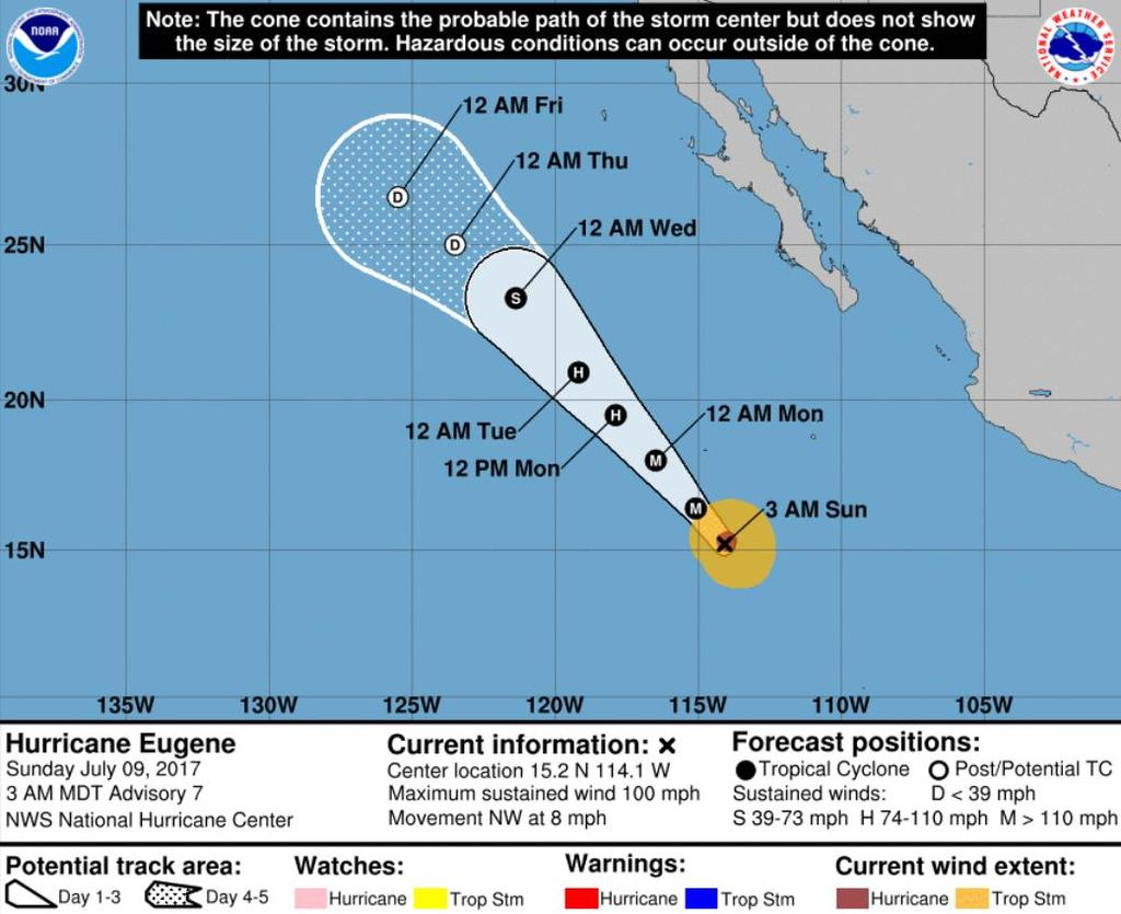 Tropical Outlook Eastern Pacific Hurricane Eugene (Advisory #7 as of 5:00 a.m.