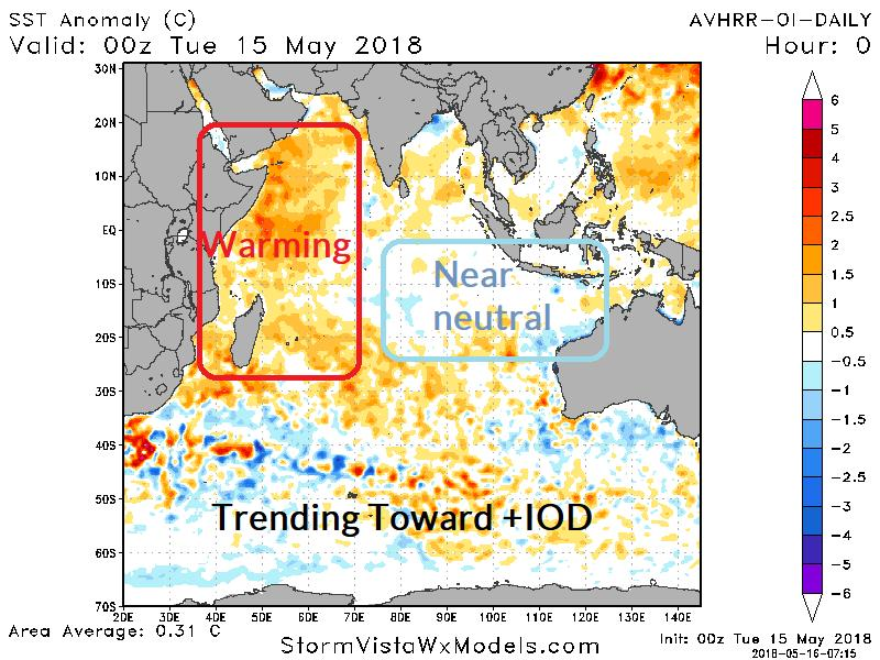 2: Latest Indian Ocean SSTA analysis indicates warm phase of