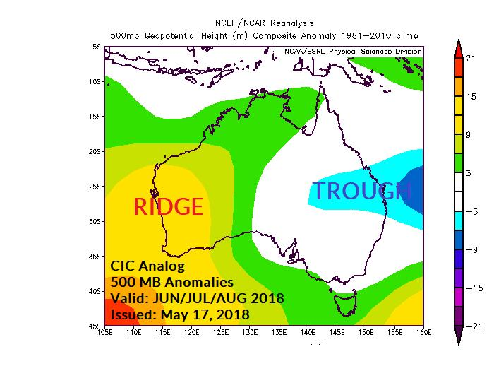 The upper air pattern features a persistent upper ridge stretched across Southern Australia. The influence on precipitation is quite dry across Eastern Australia extending westward to mid-continent.