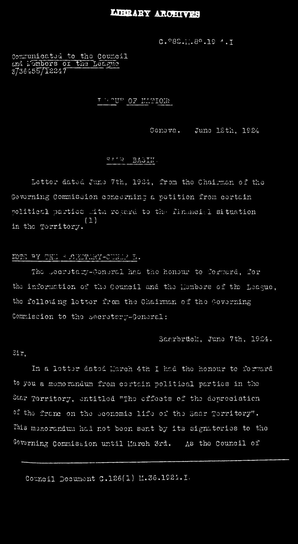 T 5 A X T T T i j - c L O j _ l v L e tte r dated June 7th, 1924, from the Chairman o f the Governing Commission concerning a p e t i t i o n from c e r ta in p o litic a l p a r tie s,:ita reg ard