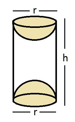 Let r be the radius of the base of the cylinder and h be its height.