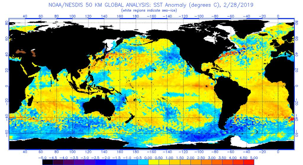 Will this continue? El Niño-level SSTs the tropical Pacific cooled to a borderline El Niño level in January and February, while subsurface waters continued to be warmer than average.